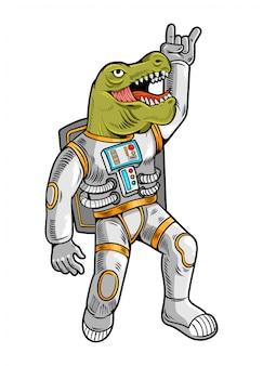 Gravure dessiner avec drôle astronaute mec cool t rex tyrannosaurus en combinaison spatiale.