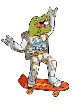 Gravure dessiner drôle astronaute mec cool t rex tyrannosaurus ride sur planche à roulettes en combinaison spatiale.