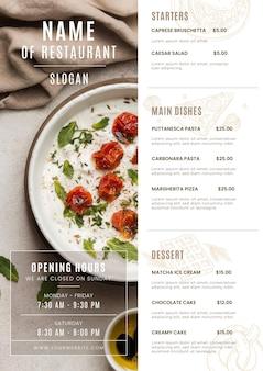 Gravure du menu du restaurant rustique avec photo