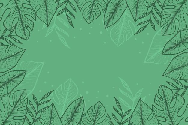 Gravure De Fond De Feuilles Tropicales Dessinés à La Main Vecteur gratuit
