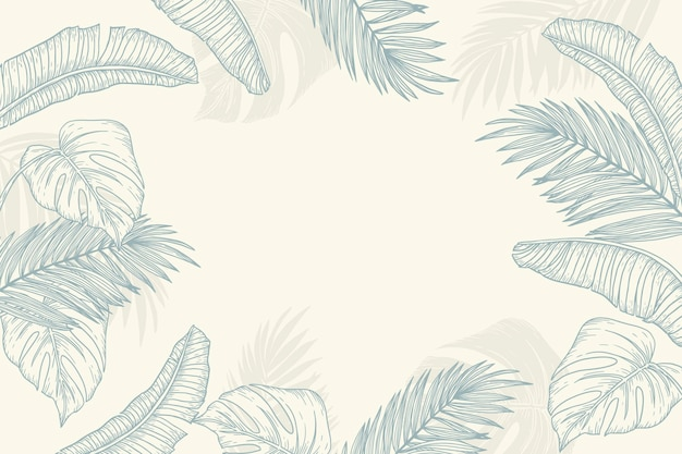Gravure de fond de feuilles tropicales dessinés à la main