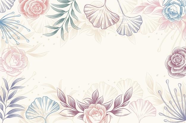 Gravure de fond floral dessiné à la main