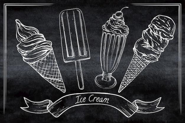 Gravure fond de tableau noir de crème glacée dessinés à la main