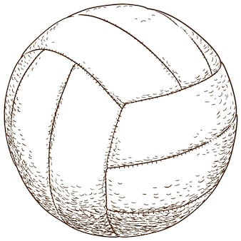 Gravure illustration de ballon de volley-ball