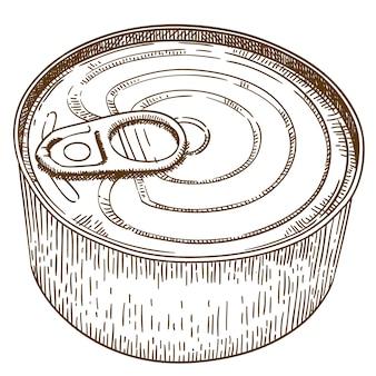 Gravure illustration de boîte de conserve