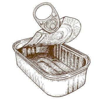 Gravure illustration d'étain ouvert peut conserver