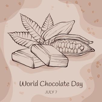Gravure illustration de la journée mondiale du chocolat dessiné à la main