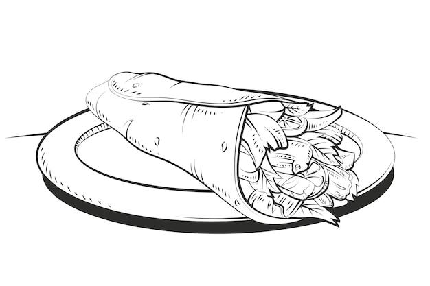 Gravure illustration de shawarma dessiné à la main