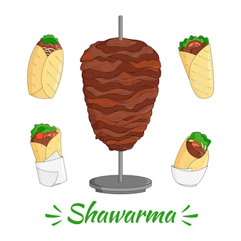 Gravure illustration de shawarma nutritif dessiné à la main