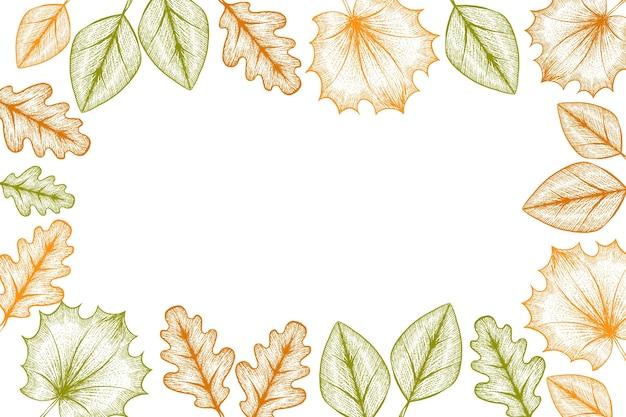 Gravure à la main des feuilles d'automne fond