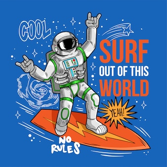 Gravure mec cool en combinaison spatiale astronaute surfeur astronaute attraper l'onde spatiale sur planche de surf, surfant entre les étoiles planètes galaxies. cartoon comics cosmic pop art pour imprimer des vêtements de t-shirt de conception.