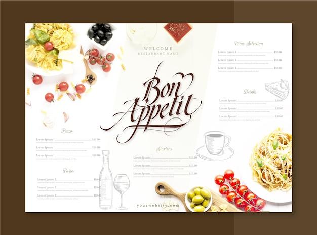 Gravure de menu de restaurant rustique dessiné à la main avec photo