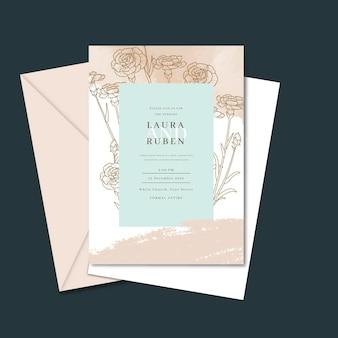 Gravure modèle d'invitation de mariage minimal dessiné à la main