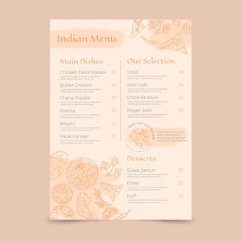 Gravure modèle de menu indien dessiné à la main