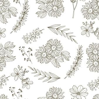 Gravure motif floral dessiné à la main