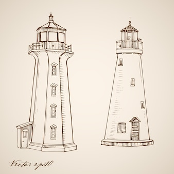 Gravure de phares dessinés à la main vintage