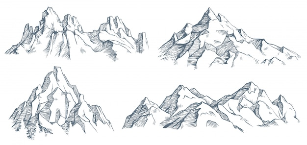 Gravure de pic de montagnes. croquis gravé vintage de vallée avec paysage de montagne et de vieux arbres forestiers. illustration
