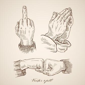 Gravure de signaux dessinés à la main vintage des mains
