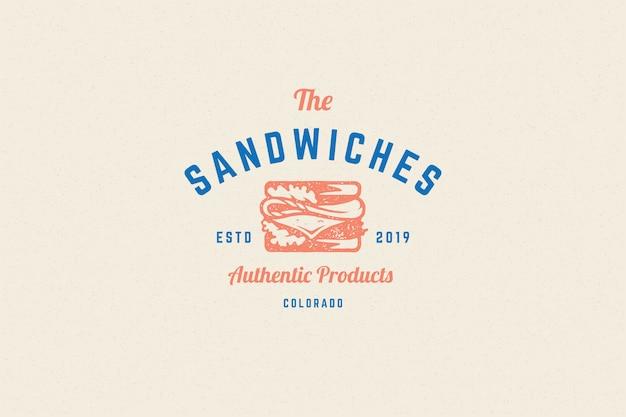 Gravure silhouette sandwich logo et style dessiné à la main typographie vintage moderne.