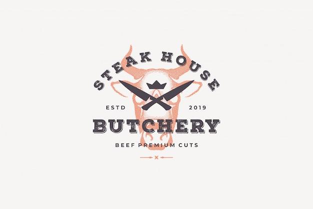 Gravure silhouette tête de vache logo et style dessiné à la main typographie vintage moderne.