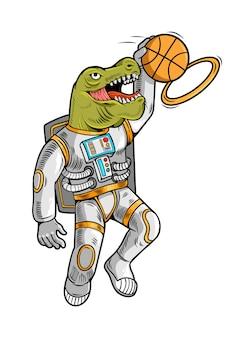 Gravure tirage au sort avec l'astronaute t rex qui joue au basket et fait slam dunk.