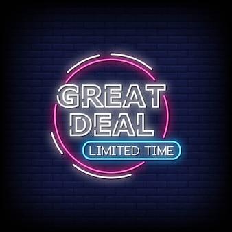 Great deal enseignes au néon style texte