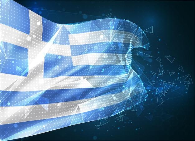 Grèce, drapeau vectoriel, objet 3d abstrait virtuel à partir de polygones triangulaires sur fond bleu