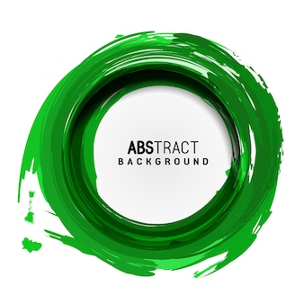 Green circle artistic abstract brush strokes background avec round place for text