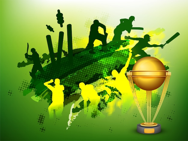 Green cricket sports background avec illustration de joueurs et coupe de trophée dorée.