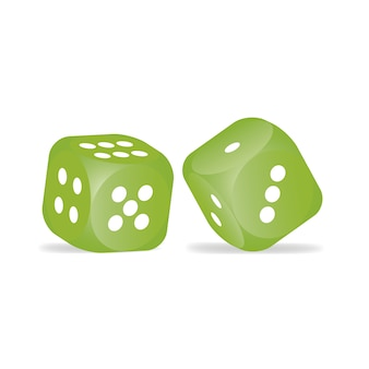 Green dices sur fond blanc