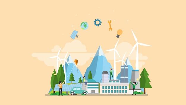 Green eco factory caractère de personnages minuscules