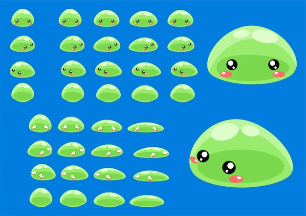 Green slime game sprites