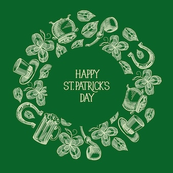 Green st patricks day ronde carte de voeux avec inscription et symboles et éléments traditionnels dessinés à la main vector illustration