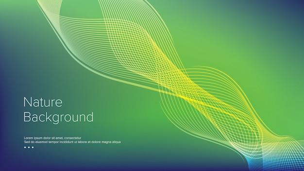 Green waves line design de modèle de fond