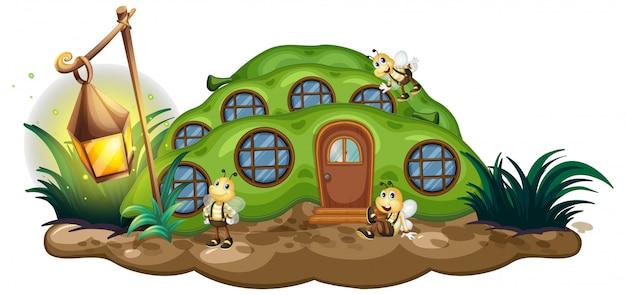 Greenpea house avec abeilles dans le jardin