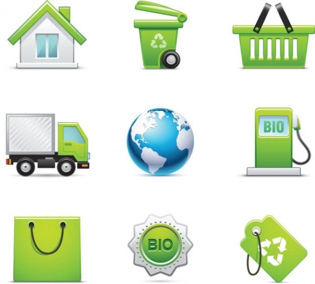 Greeny set vector icons