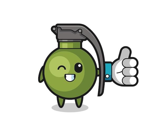 Grenade mignonne avec symbole de pouce levé sur les médias sociaux, design de style mignon pour t-shirt, autocollant, élément de logo