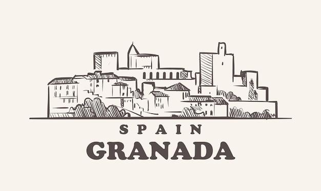 Grenade paysage urbain croquis illustration espagne dessiné à la main