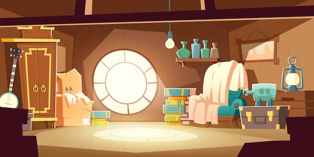 Grenier de la maison avec de vieux meubles, fond de dessin animé