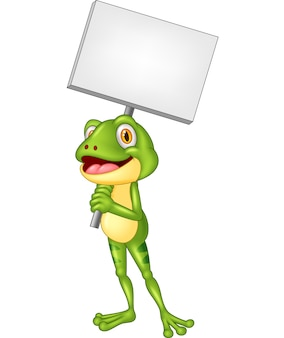 Grenouille adorable dessin animé tenant une pancarte blanche