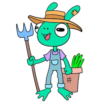 Grenouille agriculteur récolte des plantes dans le jardin, doodle dessiner kawaii. illustration