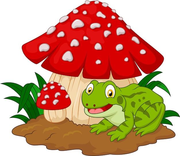 Grenouille dessin animé sous les champignons