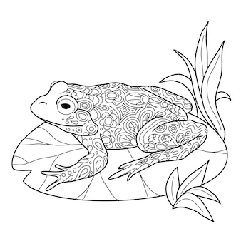 Grenouille dessinée à la main à colorier