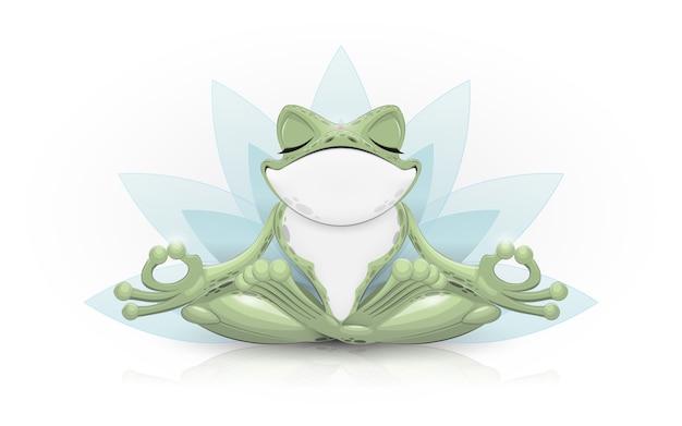 Grenouille Drôle Faisant Du Yoga Vecteur Premium