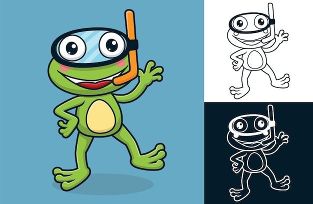 Grenouille drôle portant un masque de plongée. illustration de dessin animé de vecteur dans le style d'icône plate
