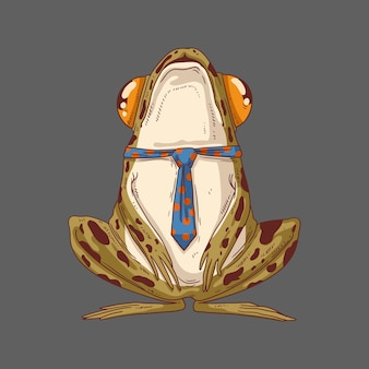 Une grenouille forestière ordinaire en cravate avec la tête haute