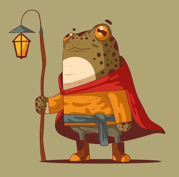 Grenouille guide calme avec lanterne prête à vous montrer le chemin du pays des merveilles