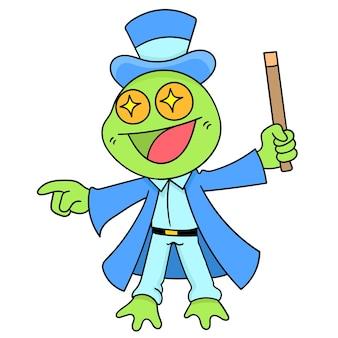 Une grenouille magicienne dans la magie d'action, dessin de griffonnage mignon de caractère
