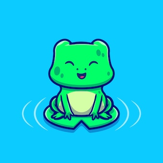 Grenouille mignonne assise sur une illustration d'icône de dessin animé de feuille. animal love icon concept premium. style de bande dessinée