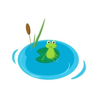 Une grenouille sur un nénuphar a plongé ses pattes dans l'eau illustration de dessin animé de vecteur